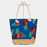 Tropical Fruit Pineapple Print Canvas Tote Bag
