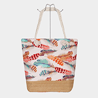 Feather Print Canvas Tote Bag