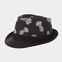 Pineapple Patterned Straw Fedora