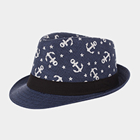 Anchor Patterned Straw Fedora