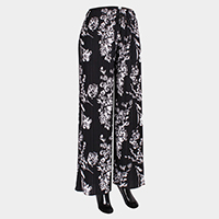 Floral Elastic Wide Pleated Waistband Pants