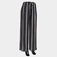 Stripe Elastic Wide Pleated Waistband Pants