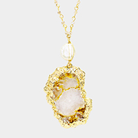Semi Precious Genuine Druzy Pendant Long Necklace