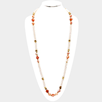 Semi Precious Faceted Glass Beaded Long Necklace