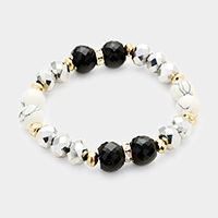 Semi Precious Faceted Beaded Stretch Bracelet
