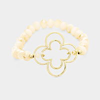 Glass Beaded Double Quatrefoil Hoop Stretch Bracelet