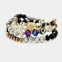 3PCS Faceted Multi Beaded Stretch Bracelet