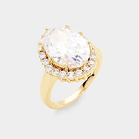 CZ Gold Plated Oval Stone Engagement Ring