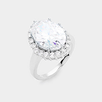 CZ Rhodium Plated Oval Stone Engagement Ring