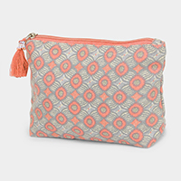 Abstract Pattern Tassel Cosmetic Pouch Bag