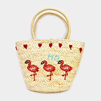 Embroidery Triple Flamingo Straw Tote Bag