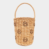 Embroidery Smile Emoji Straw Bucket Bag