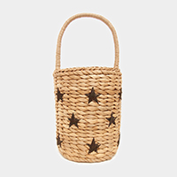 Embroidery Star Straw Bucket Bag