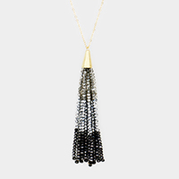 Triple Tone Beaded Tassel Long Necklace