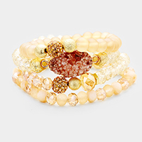 4PCS Beaded Genuine Druzy Accented Stretch Bracelet