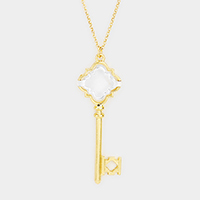 Metal Petal Key Pendant Long Necklace