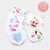 12PCS - Flamingo Print Zipper Coin Purses With Key Chain