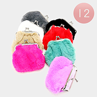 12PCS - Soft Faux Fur Print Clasp Coin Purses
