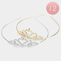 12PCS - Crystal Rhinestone Pave Heart Crown Headbands