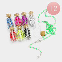 12PCS - Beaded Cross Pendant Y Necklaces with Bottle