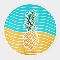 Pineapple _ Terry Cloth Round Beach Towel With Tassel Trim