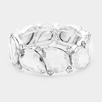 Marquise Glass Crystal Teardrop Cluster Stretch Bracelet