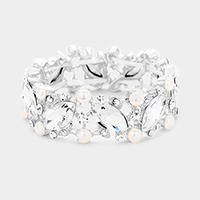 Marquise Glass Crystal Pearl Evening Stretch Bracelet