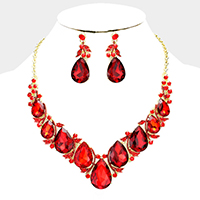 Marquise Glass Crystal Teardrop Cluster Evening Necklace