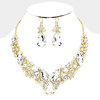 Marquise Glass Crystal Leaf Cluster Evening Necklace