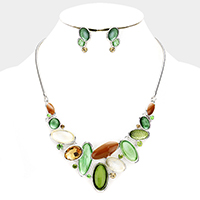 Stone Colored Metal Oval Cluster Bib Necklace