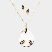Pave Rhinestone Mother of Pearl Teardrop Pendant Necklace