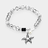 Beaded Starfish Pearl Charms Stretch Bracelet