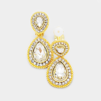 Pave Trim Double Glass Crystal Teardrop Clip on Earrings