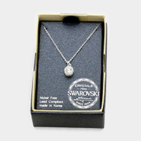 Swarovski Crystal Oval Pendant Necklace