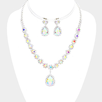 Floral Rhinestone Pave Glass Teardrop Dangle Necklace