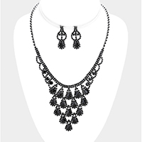 Crystal Rhinestone Pave Teardrop Cluster Vine Necklace