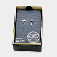 Swarovski Crystal Cross Stud Earrings