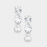 Triple Round Cubic Zirconia Evening Earrings