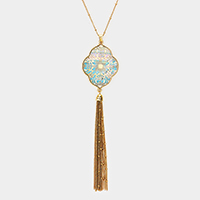 Mother of Pearl Filigree Petal Chain Tassel Long Necklace