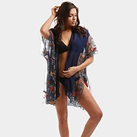 Sheer Embroidery Flower Cover Up Poncho