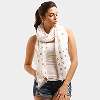Anchor Foil Print Oblong Scarf