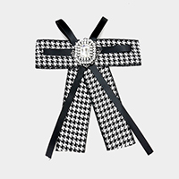 Houndstooth Grosgrain Bow Ribbon Brooch