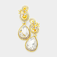 Pave Trim Glass Teardrop Stone Clip on Evening Earrings
