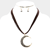 Layered Cored Stone Cluster Crescent Moon Necklace