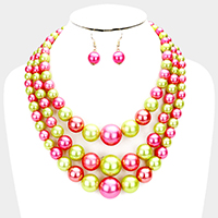 Triple Strand Pearl Beaded Bib Necklace