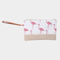 Flamingo Pattern Print Pouch Bag
