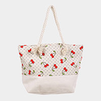 Cherry Pattern Polka Dot Canvas Tote Bag