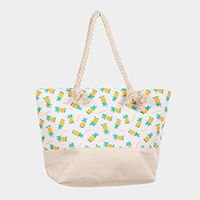 Pineapple Pattern Canvas Tote Bag