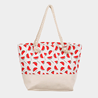 Watermelon Pattern Canvas Tote Bag