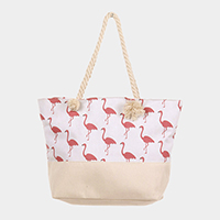 Flamingo Pattern Canvas Tote Bag